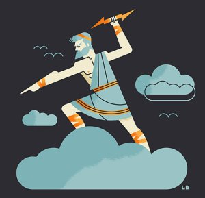 Zeus on a cloud readying to throw a bolt